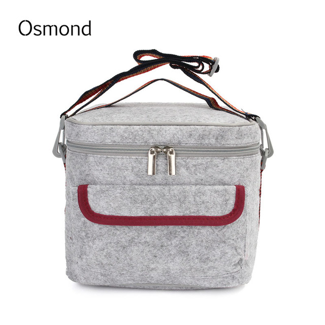 Osmond Lunch Bag Box Portable Cooler Food Bag Tote Felt Double Shoulder Strap Picnic Waterproof Insulated Thermal