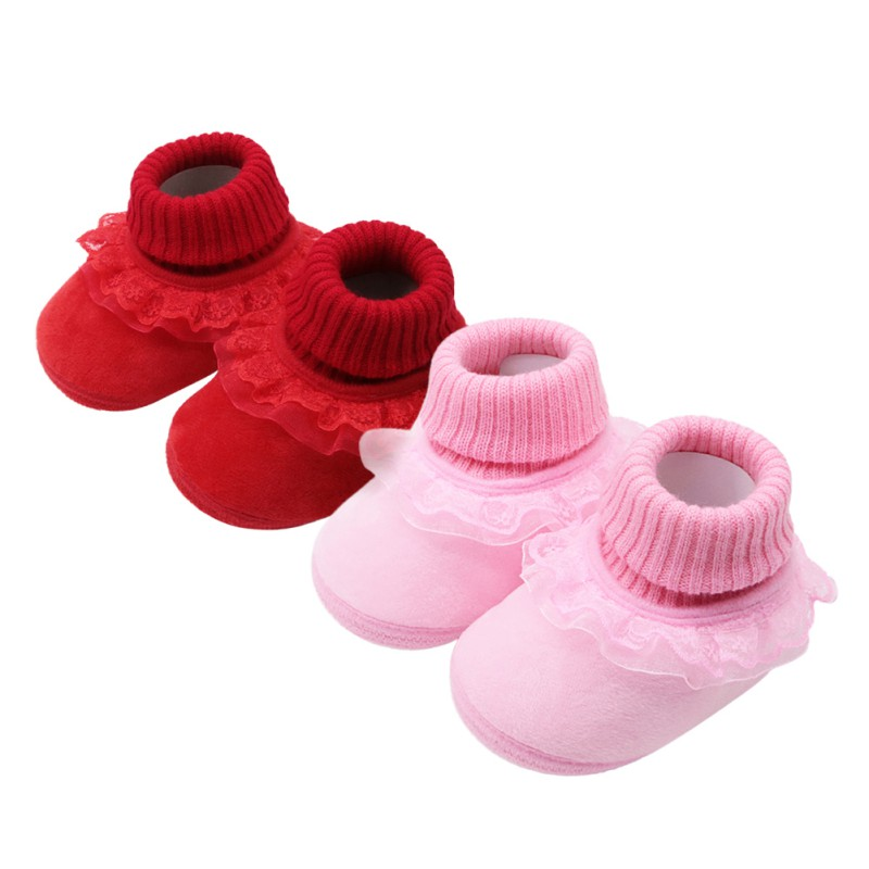 WEIXINBUY Baby Winter Shoes New First Walkers 0-18MFashion Girls Cotton Warm Non-slip Boots Baby Shoes A+