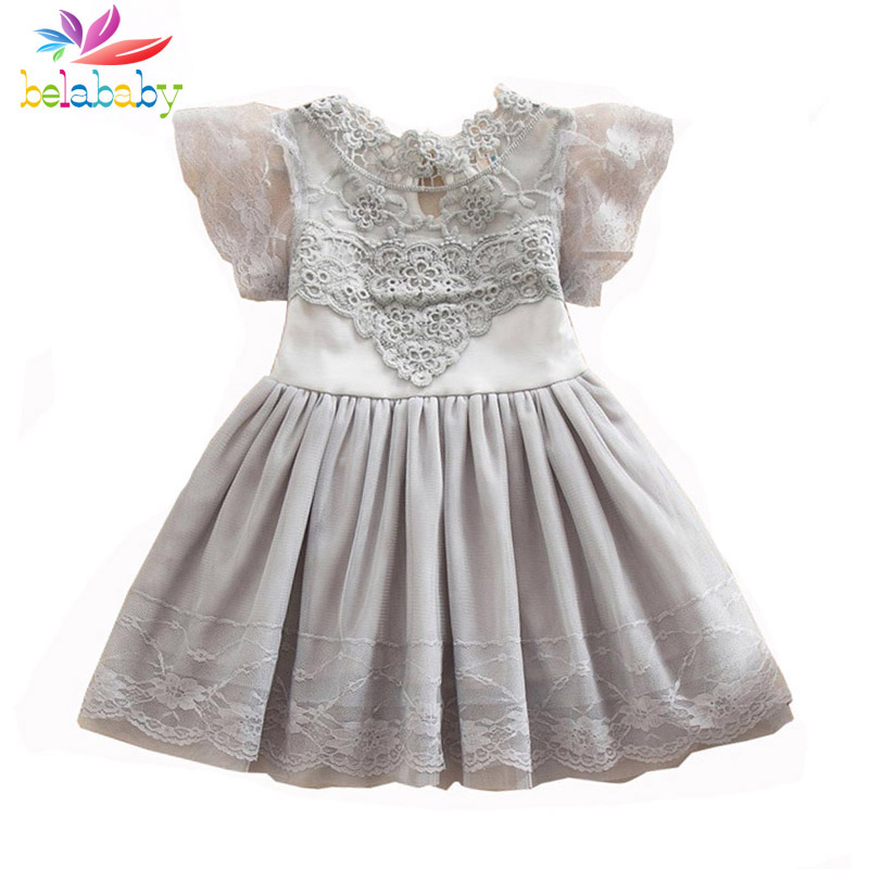 Belababy Princess Girl Dress 2017 Summer Children Lace Flower Vestidos Para Ninas Kids Petal Sleeve Party Dresses For Girls teenage girl party dress children 2016 summer flower lace princess dress junior girls celebration prom gown dresses kids clothes