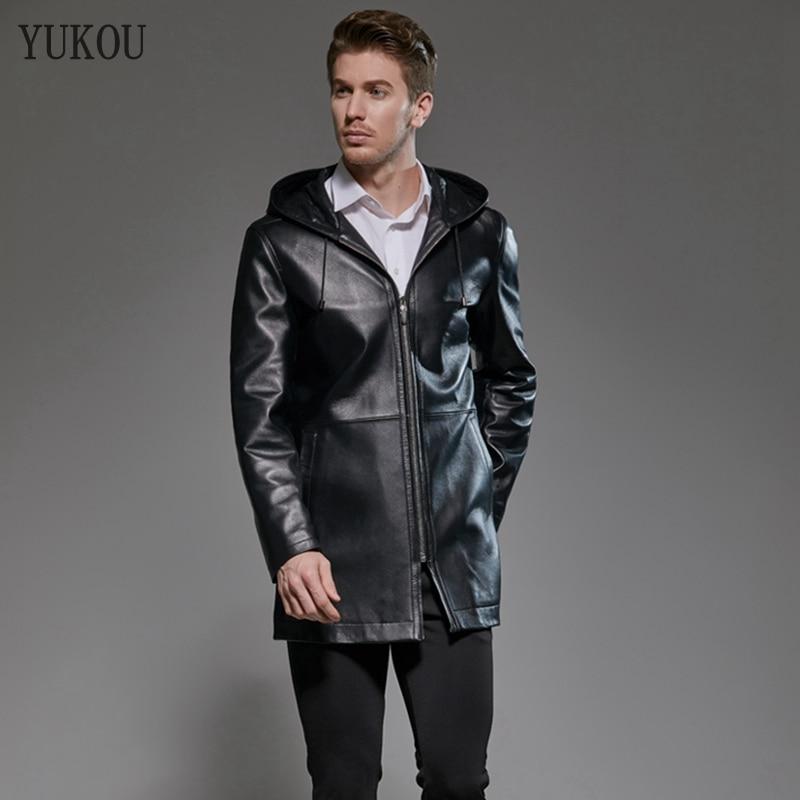 Mens Coats Long Natural 100% Sheepskin Genuine Leather Hooded Windbreaker 2019 Fashion Business Mens Real Sheepskin Jacket(China)