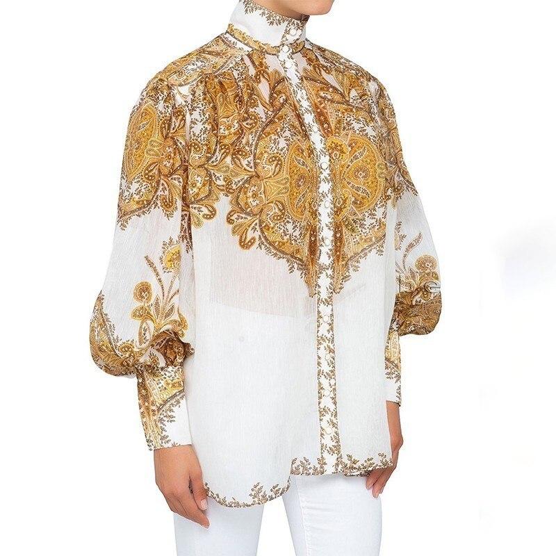 [LIVIVIO] Vintage imprimer Blouse pour les femmes col montant lanterne manches grande taille chemise femme mode vêtements 2019 été nouveau - 2