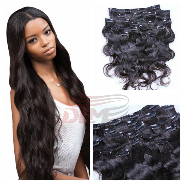 Unprocessed 7a Wavy Hair Clip In Extentions Remy Hair Wet African