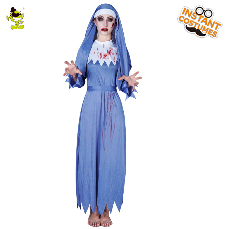 Bloody Nun Costumes Halloween Party Bloodcurdling Religieuse Cosplay Fancy Dress Adult Gruesome Nun Role Play Outfits