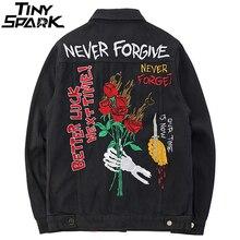 c04c357ba54 Mens Black Denim Bomber Jackets Embroidery Rose Jeans Jacket Streetwear  Autumn 2018 Skull Wolf Patch Design