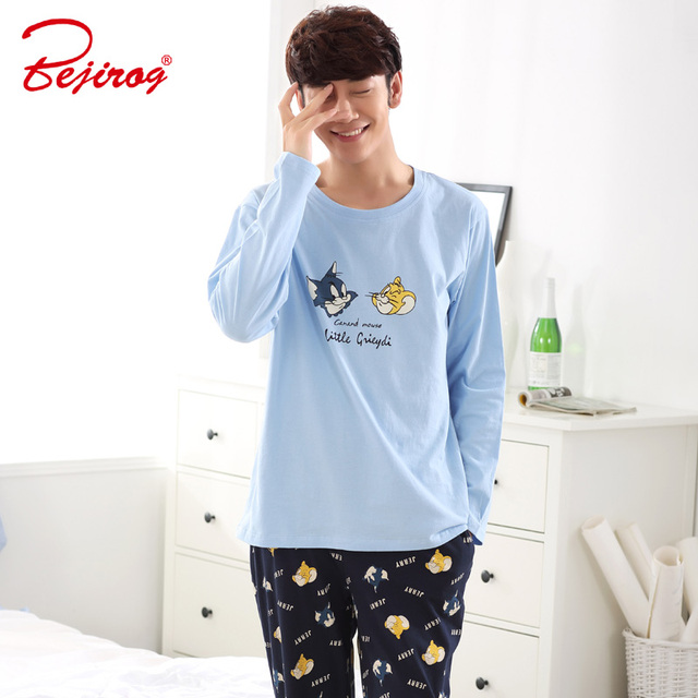 Bejirog Cute Sleep Clothing Pajamas Set Men Casual Homedress Male Nightie  Cartoon Plus Size Cotton Long Sleeved Sleepwear Autumn e8ef2c23c