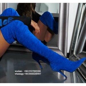 Image 1 - Эластичные замшевые синие облегающие зимние длинные сапоги, женские ботфорты на тонком высоком каблуке, большие размеры 43