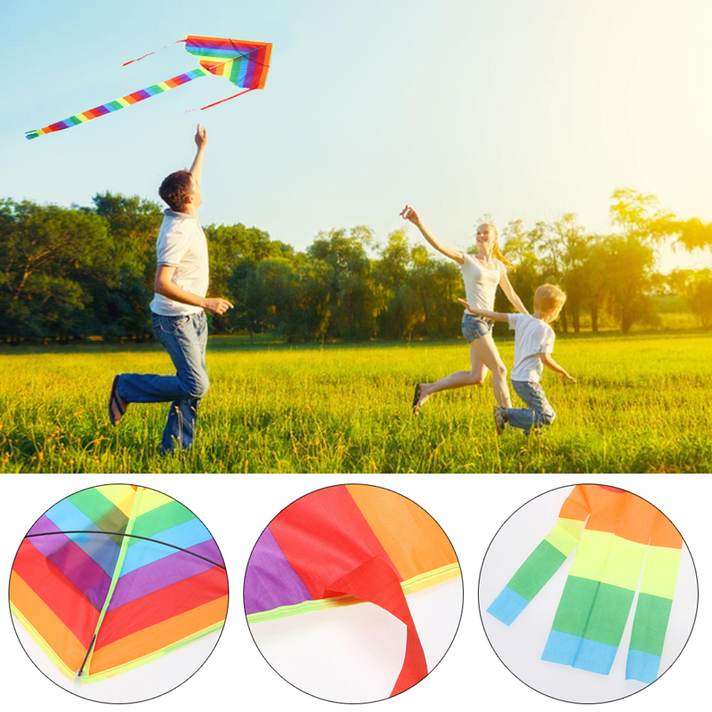 1 Pcs New Rainbow Kite Kids Children Beach Kite Nylon Ripstops Outdoor Fun Sports Triangle Rainbow Kite Without Flying Tools
