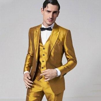 16e442d7c Nuevos trajes de satén amarillo dorado para hombre, trajes ajustados para  fiesta de graduación, disfraces de actuación, trajes de ceremonia Ternos ...