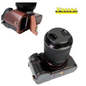 Image 1 - Capa de couro pu meio corpo para câmera, proteção para sony a7rm2 a7ii a7rii a72 a7r2 › a7sii a7m2 a7 markii com abertura da bateria