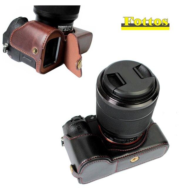 Capa de couro pu meio corpo para câmera, proteção para sony a7rm2 a7ii a7rii a72 a7r2 › a7sii a7m2 a7 markii com abertura da bateria