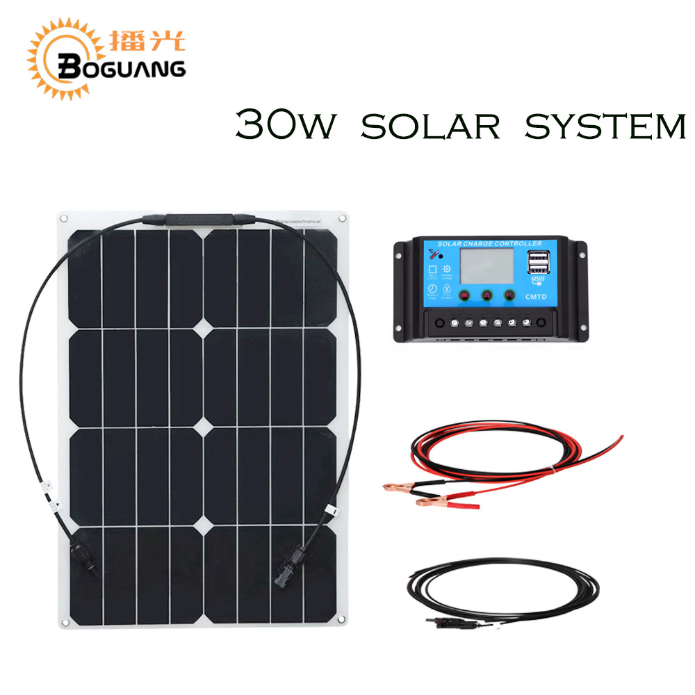 BOGUANG 30w Semi-Flexible solar panel system cell module controller cable MC4 connector outdoor Solar energy 12v battery flexible solar panels 25w for boats with connection box 0 9m cable mc4 connector 12v