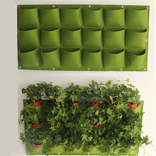 Novelty 24 Pockets Vertical Garden Planter Wall Mounted Polyester Home  Gardening Flower Planting Bags Living