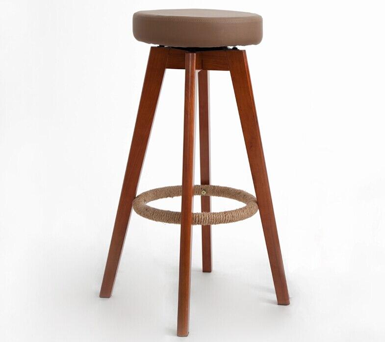 Деревянный поворотный барные стулья современные коричневый отделка круглый кожаный сиденья пены спинки indoor Кофе кафе-бар мебель стул 25- дю...