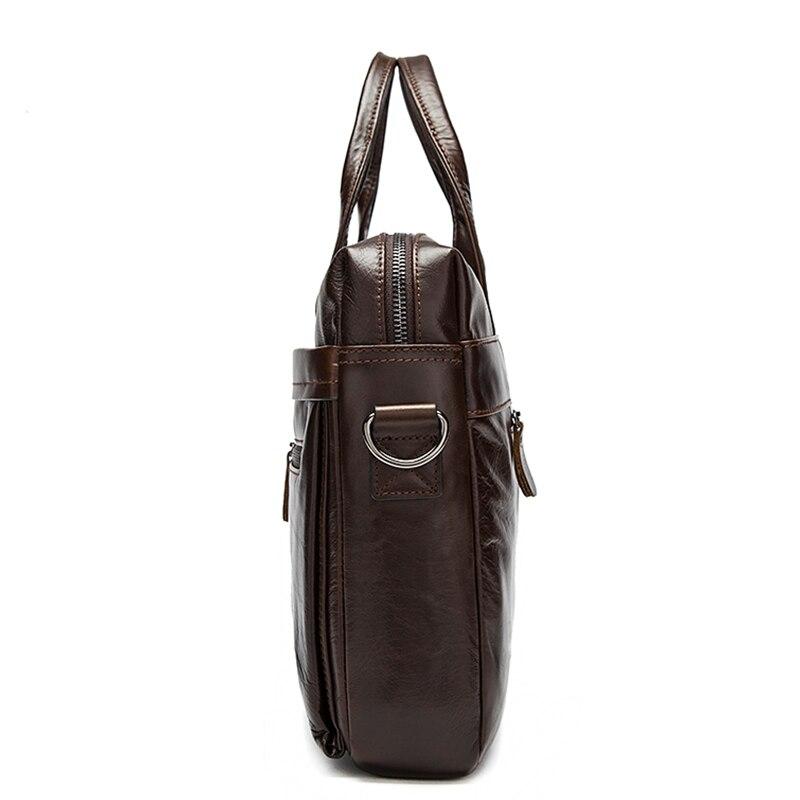 Portable Tianhoo Huile Ordinateur coffee Souple cire Emballages 14 Véritable brown Sacs Homme Paquet Hommes En A4 Dossier Serviette Pour gray Black Pouce Cuir 7rZf7q