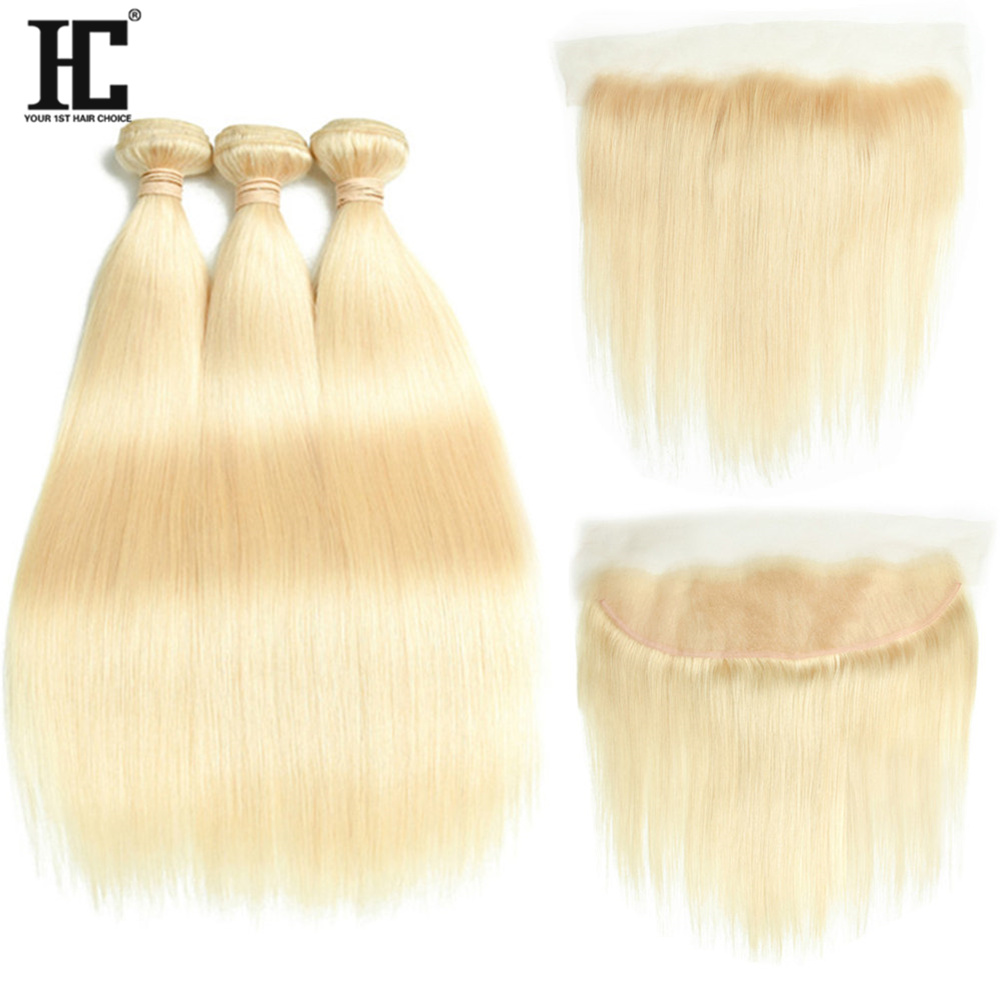 613 Blonde Hair Bundles With Lace Frontal Closure Peruvian Straight Remy Hair 3 Bundles With Ear