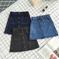 Botones de primavera y verano falda de mezclilla retro mini falda jeans vintage saia jupe crayón lapis jupe courte saia feminina gonne