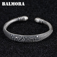 BALMORA 990 Pure Silver Sutra Buddhism Flower Open Bangles for Women About 17 cm Bracelet Jewelry Accessories Esposas SZ0523