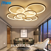Rings White Finished Chandeliers LED Circle Modern Chandelier Lights For Living Room Acrylic Lampara De Techo