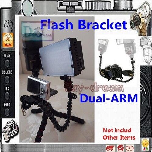 Flexible Dual-arm Dual-shoe Double-shoe Flash Bracket For MACRO SHOT For Camera DSLR PT073