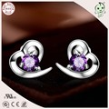 Top Quality Love Heart Design 925 Solid Silver Cute Crystal Stones Heart Shape Stud Earring For Woman