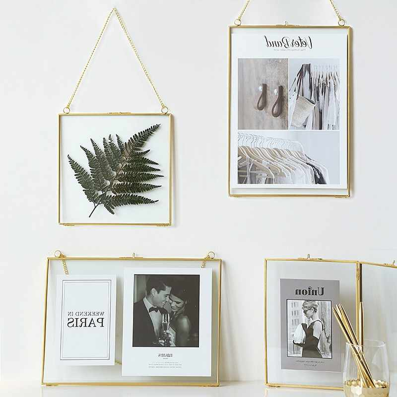 Nordic Light Luxury Style Gold Brass Hanging Frame 6 inch 8 inch Living Room Wall Hanging Tabletop Photo Frames Ornaments Gifts