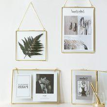 Marco colgante de latón dorado de lujo, luz nórdica, 6 pulgadas, 8 pulgadas, pared de salón, foto de decoración colgante, marcos, adornos de regalos para boda