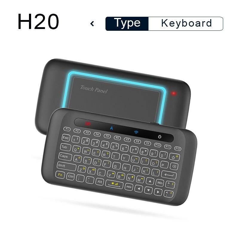 Teclado H20 Mini retroiluminación teclado inalámbrico nuevo modelTouchpad ratón de aire IR inclinada control remoto para Android caja de TV