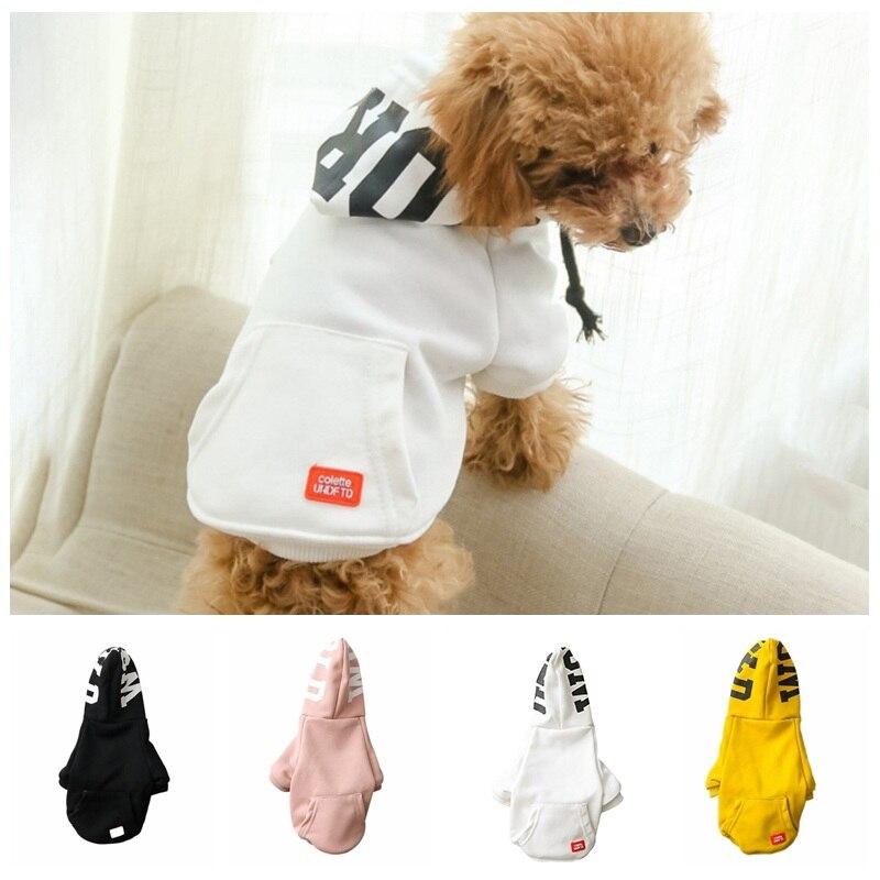 Pet Dog Hoodies Coat Soft Cotton Dog Clothing 4 Colors Small Large Sizes Dog Jacket Sweatshirt Dog Hooded Sweater Pink Black