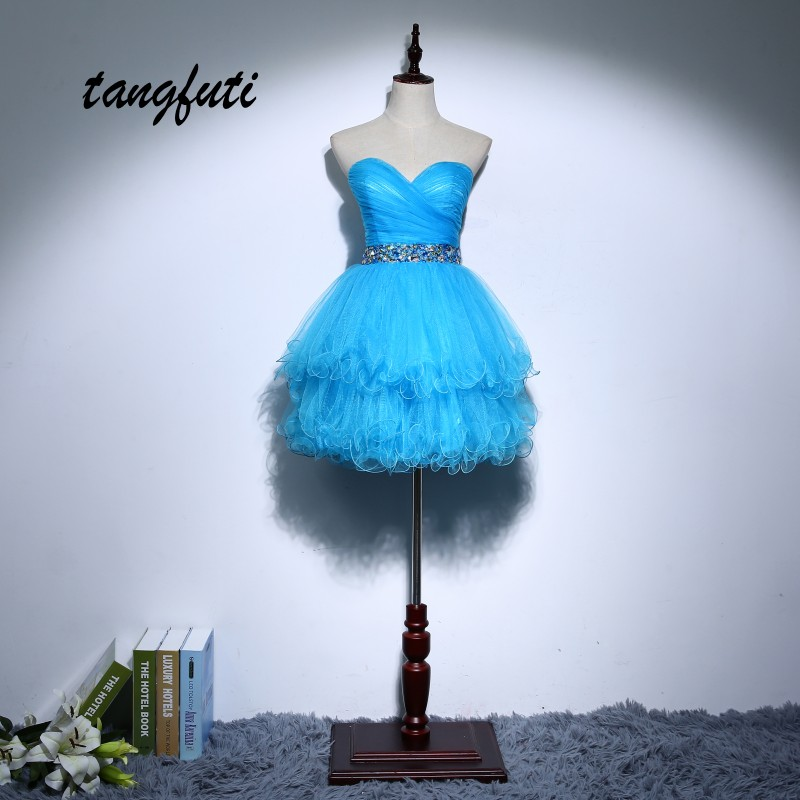 Homecoming Dresses 2018 Short Party Dress With Crystals Beaded A Line Tulle vestido de formatura curto Graduation Party Gowns