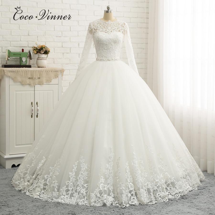 Long Sleeve Embroidery Beading Good Quality Wedding Dresses Ball Gown 2020 New Beaded Sash Muslim Arabic Wedding Dress W0333