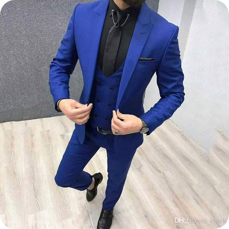2019 Fashion Casual Business Royal Blue Mens Suits 3 Pieces Formal Dress Groomsman Men Wedding Suit For Men Groom Prom Tuxedos