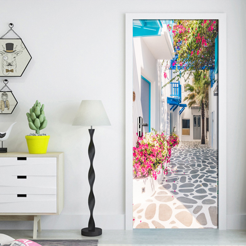 Living Room Bedroom Door Wall Sticker PVC Waterproof Wallpaper Decoration Romance Greek Street View 3D Door Mural Wallpaper Roll