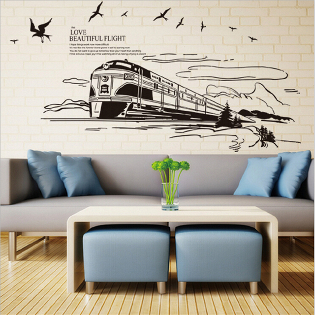 European Style Train Wall Sticker Vinyl Wall Stickers For Kids Rooms Home  Decor Bathroom Wall