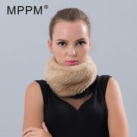MPPM Winter Headbands for Women Mink Fur Scarves 2017 Real Mink Fur Scarf Solid Color Warm Scarf