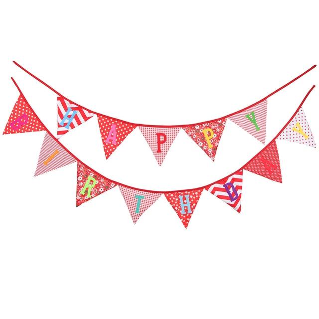 bestoyard 2 4m happy birthday printed cotton pennant banner hanging