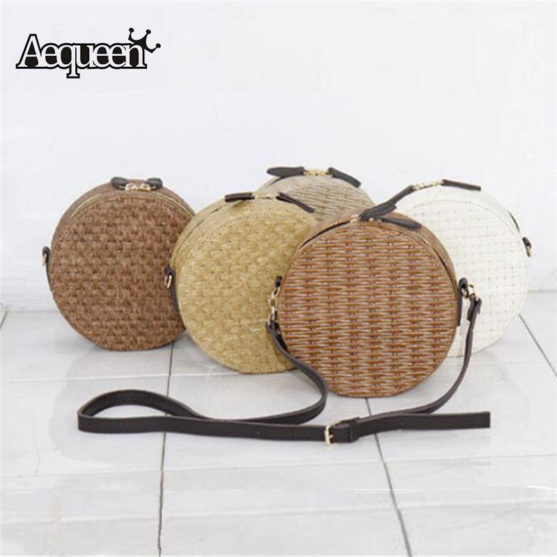 AEQUEEN Summer Round Mini Rattan Shoulder Bags Women Totes Circular Messenger Bag Small Straw Bag Weave Knitting Beach Handbag
