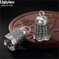 Uglyless Sounded Real 99% Full Silver Bell Pendants Unisex Women Men Buddhism Necklaces NO Chains Heart Sutra Thai Silver Bijoux