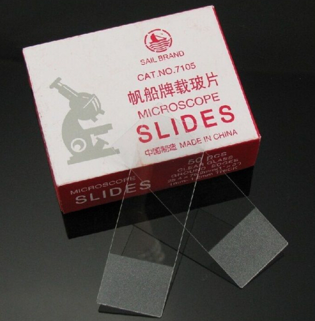 50pcs blank microscope glass slides with frosted end 25x76mm for lab
