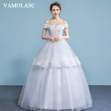VAMOLASC Boat Neck Tiered Lace Appliques Ball Gown Wedding Dresses Beading Tassel Short Sleeve Backless Bridal Gowns