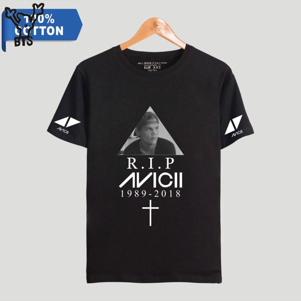BTS R.I.P Avicii 100% Cotton Men/Women Cool T-shirt Fashion Hot Sale Short Printing Elastic Casual Popular TShirt Plus Size 4XL