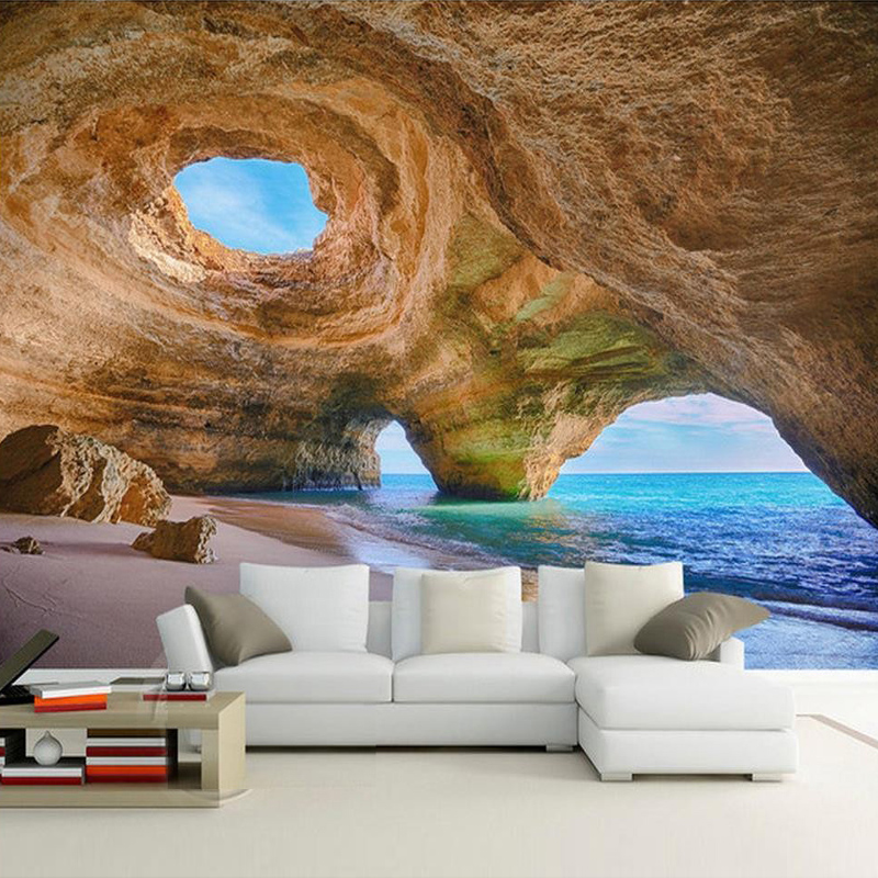 Custom any size 3d mural wallpaper beach reef cave living for Beach mural wallpaper