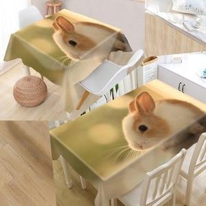 Image 2 - New Arrival niestandardowy królik obrus wodoodporna tkanina Oxford prostokątny obrus Home obrus na imprezę