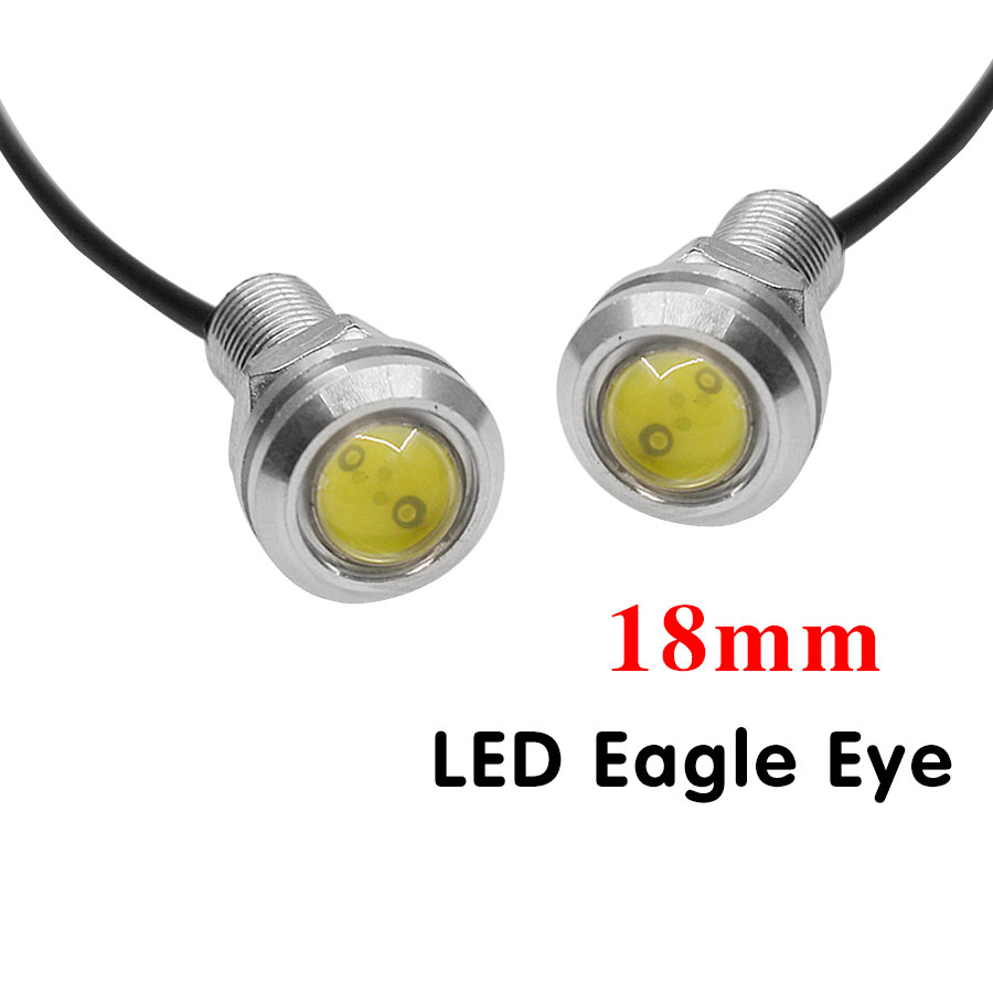 2Pcs/Lot 7W 18MM Led Eagle Eye Daytime Running Car Lights Source Auto Backup Reversing Parking Signal Light Lamps High Quality 7w led white light eagle eye car foglight backup daytime running lamp dc 12v