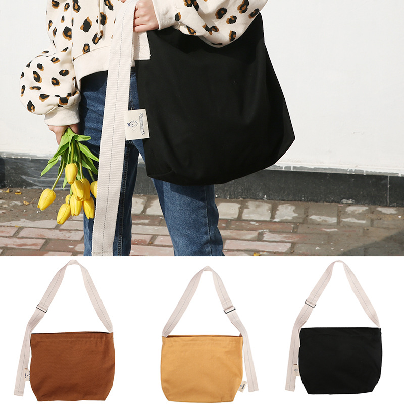 Zipper Canvas Bags Messenger Bag Shoulder Bags Soft Students Girls School Handbags