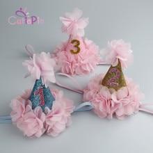 Mini Birthday Party Cone Hat Headband with Pink Flower Trim for Baby Girls Kids Children Favors Headwear