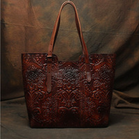 Nesitu High Quality Flower Pattern Vintage Coffee Thick Genuine Leather Women Handbags Lady Shoulder Bags Woman Totes #M113
