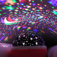 AGM Stars Moon LED Projection Night Light Lamp Rotation Changing Luminaria Sky Projectors For Children Baby