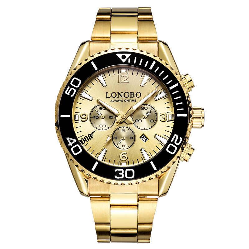 2019 יוקרה זהב מלא נירוסטה Longbo למעלה מותג גברים שעון ייחודי כחול עסקי שמלת לוח שנה עבור זכר עמיד למים שעון