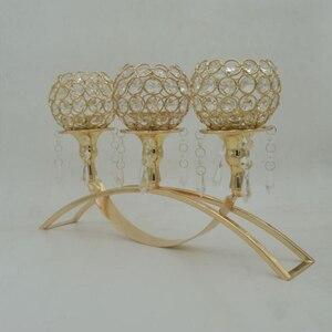 Besten bewerteten goldene überzogene 3-arms metall kerzenhalter mit kristall anhänger für heimtextilien oder wedding kandelaber