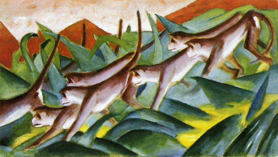 Monkey Frieze 1911 by Franz Marc oil painting canvas High quality hand painted abstract art reproduction